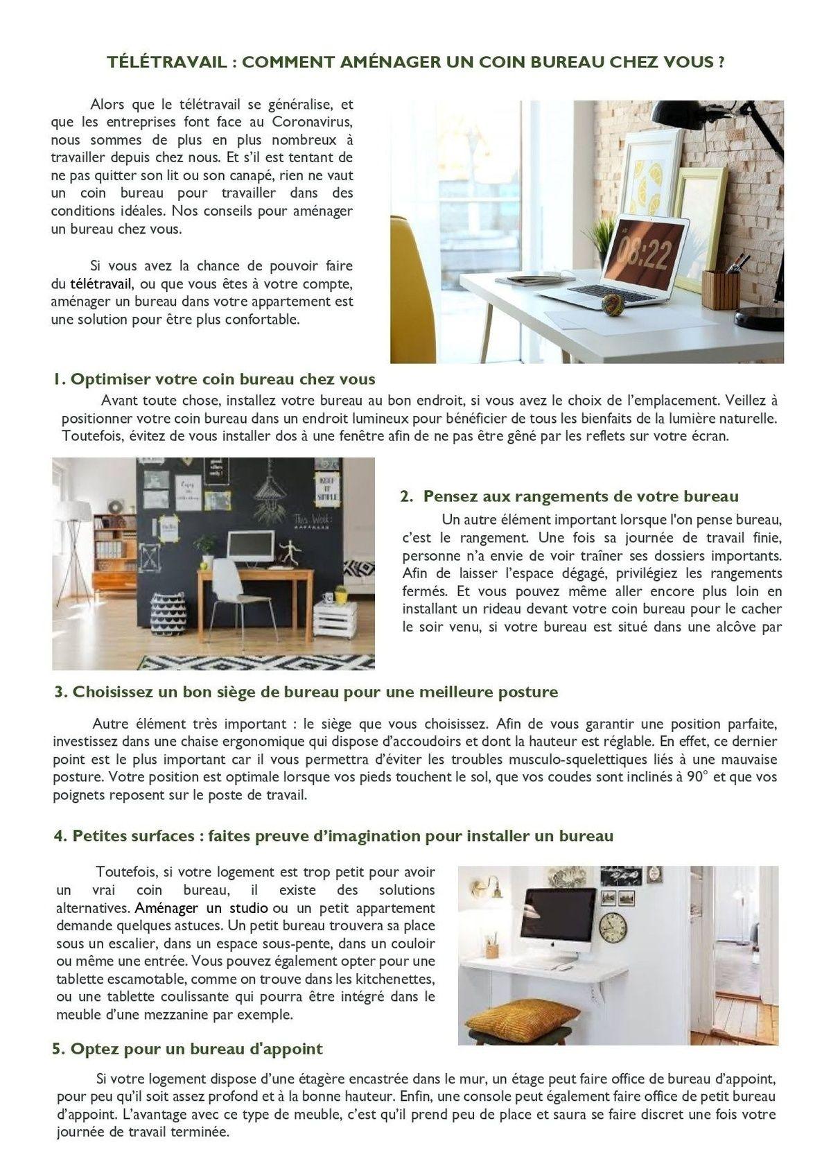 Télétravail : Comment aménager un coin bureau chez vous ?