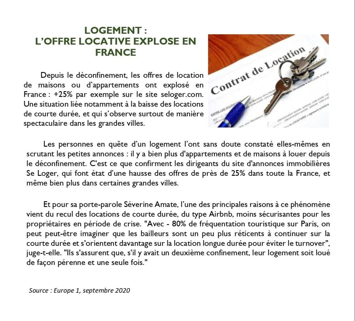 L'offre locative explose en France